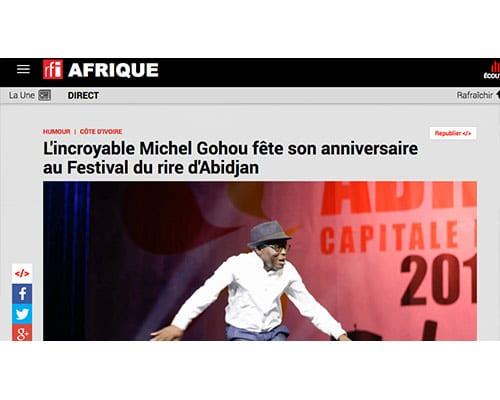 RFI – L'incroyable Michel Gohou fête son anniversaire au Festival du rire d'Abidjan