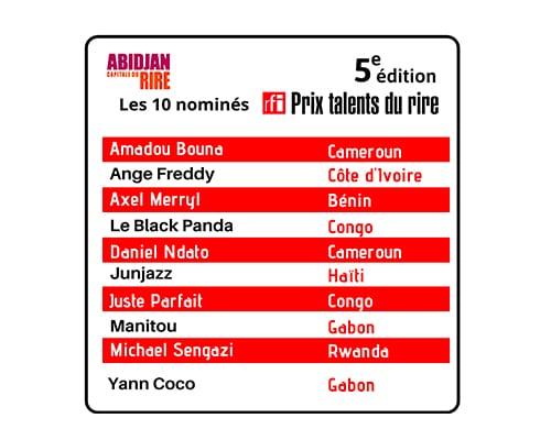 Les 10 nominés du Prix RFI Talents du Rire 2019 sont…